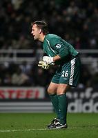 Photo: Andrew Unwin.<br />Newcastle United v Everton. The Barclays Premiership. 25/02/2006.<br />Everton's temporary goalkeeper, Sander Westerveld.