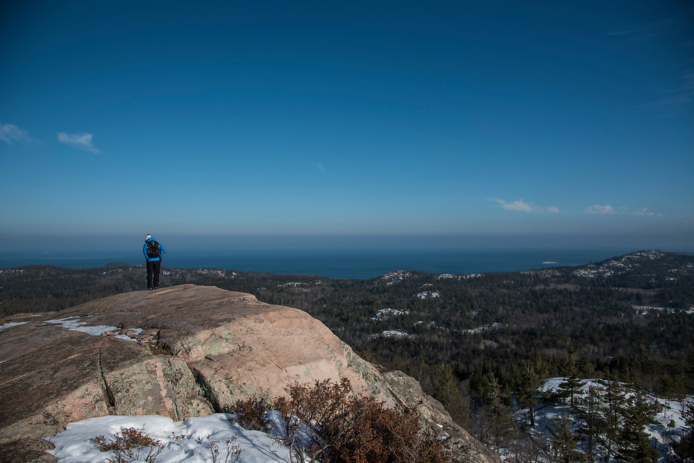 Atop Hogsback Mountain near Marquette, Michigan in winter.