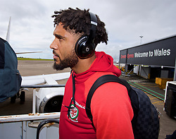 CARDIFF, WALES - Monday, September 4, 2017: Wales' captain Ashley Williams boards the team plane as the squad depart Cardiff Airport to travel to Chișinău ahead of the 2018 FIFA World Cup Qualifying Group D match against Moldova. (Pic by David Rawcliffe/Propaganda)