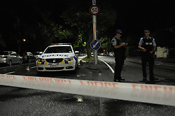 March 15, 2019 - Christchurch, New Zealand: Policemen are seen on a road near the scene where terror attacks occurred in Christchurch. At least 49 people were killed and 48 others wounded in the attacks on two mosques of New Zealand's Christchurch earlier on Friday. (Credit Image: © Xinhua via ZUMA Wire)