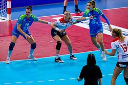 02-12-2019 JAP: Slovenia - Norway, Kumamoto<br /> Second day 24th IHF Women's Handball World Championship, Slovenia lost the second match against Norway with 20 - 36. Teja Ferfolja #15 of Slovenia, LØKEHeidi of Norway