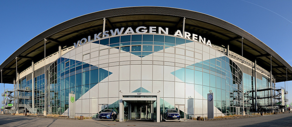 General view of the exterior of the stadium pictured ahead of the UEFA Europa League match at Volkswagen Arena, Wolfsburg **NOTE TO EDITORS IMAGE STITCHED TOGETHER WITH SOFTWARE**<br /> Picture by Ian Wadkins/Focus Images Ltd +44 7877 568959<br /> 19/02/2015