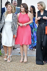 Left to right, SARA PARKER-BOWLES, PRINCESS EUGENIE OF YORK and AMANDA STAVELEY at the Quintessentially Foundation and Elephant Family 's 'Travels to My Elephant' Royal Rickshaw Auction presented by Selfridges and hosted by HRH The Prince of Wales and The Duchess of Cornwall held at Lancaster House, Cleveland Row, St.James's, London on 30th June 2015.