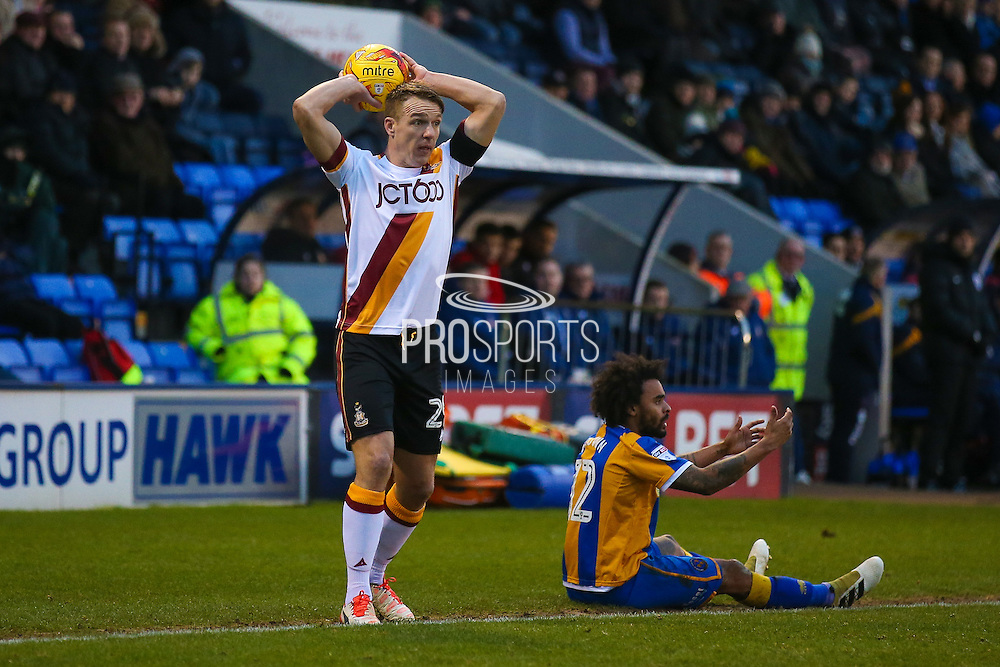 Bradford City defender Anthony McMahon (29) takes a throw in during the EFL Sky Bet League 1 match between Shrewsbury Town and Bradford City at Greenhous Meadow, Shrewsbury, England on 14 January 2017. Photo by Simon Davies.