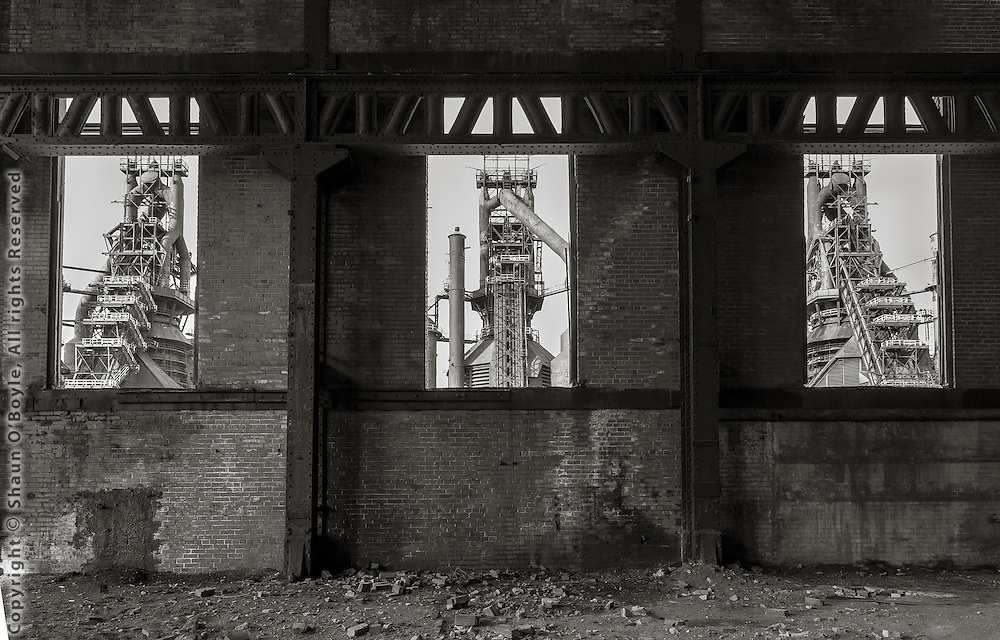 Three Blast Furnaces through Windows, Bethlehem Steel Mill, Bethlehem, PA