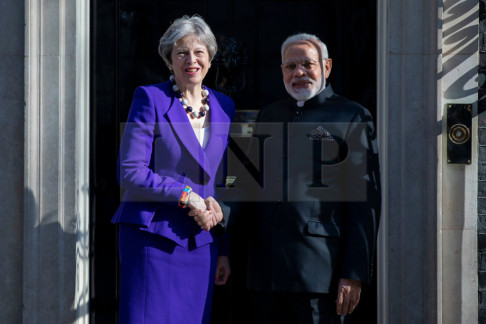 © Licensed to London News Pictures. 18/04/2018. London, UK.Prime Minister Theresa May (L) and Indian Prime Minister Narendra Modi (R) meets at 10 Downing Street. Photo credit: Rob Pinney/LNP