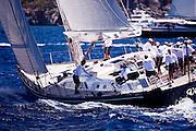 Virago sailing in the 2011 St. Barth's Bucket Regatta, race 1.