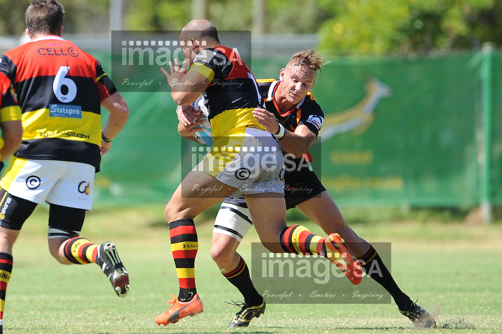 CAPE TOWN, SOUTH AFRICA - Saturday 28 February 2015, Morgan Newman of Hamiltons RFC runs into Peter Hemsley of Vaseline Wanderers during the second round match of the Cell C Community Cup between Hamiltons and Vaseline Wanderers at the Stephan Oval, Green Point.<br /> Photo by Roger Sedres/ImageSA/SARU