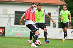 Nik Lorbek of NS Mura and Ziga Kous of NS Mura during warm up prior football match between NS Mura and NK Domzale in 3rd Round of Prva liga Telekom Slovenije 2018/19, on Avgust 05, 2018 in Mestni stadion Fazanerija, Murska Sobota, Slovenia. Photo by Mario Horvat / Sportida