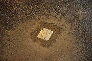 Roma 29 Gennaio 2010.Memorie d'Inciampo a Roma.Sampietrini rivestiti d'una placca d'ottone lucente incastonati a terra di fronte ai portoni dei deportati ad Auschwitz. L'idea è dell'artista tedesco Gunther Demnig che nell'ambito del progetto «Memorie d'Inciampo a Roma» a cura di Adachiara Zevi, prevede nella Giornata della Memoria il posizionamento in sei Municipi di trenta pietre, ciascuna dedicata ad un deportato per ragioni razziali, politiche e militari, di fronte alle loro abitazioni..La targa  in memoria del Colonnello Eugenio Paladini deportato al campo di concentramento a Meppen in Via Taranto a Roma.Olocaust memorial plaques to  victims in Rome