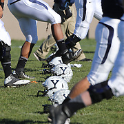 Yale players warm up before the Yale Vs Princeton, Ivy League College Football match at Yale Bowl, New Haven, Connecticut, USA. 15th November 2014. Photo Tim Clayton