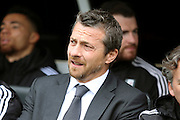 Fulham head coach, Slavisa Jokanovic looking on during the Sky Bet Championship match between Fulham and Cardiff City at Craven Cottage, London, England on 9 April 2016. Photo by Matthew Redman.