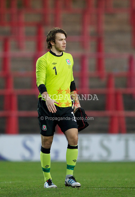WREXHAM, WALES - Wednesday, February 29, 2012: Wales' goalkeeper Chris Maxwell (Wrexham) walks off the pitch after his side's 4-0 win over Andorra in the UEFA Under-21 Championship Qualifying Group 3 match at the Racecourse Ground. (Pic by Vegard Grott/Propaganda)