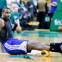 28 April 2013: New York Knicks power forward Amar'e Stoudemire (1) stretches prior to Boston Celtics 97-90 overtime victory over the New York Knicks during Game Four of the Eastern Conference Quarterfinals of the 2013 NBA Playoffs at the TD Garden, Boston, Massachusetts, USA.