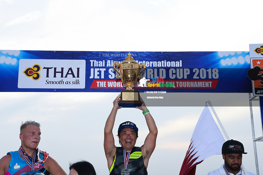 PATTAYA, THAILAND - DECEMBER 09: Hajime Isahai (J87) of Japan and Marine Mechanic reaction on the podium with the King's Cup during the Royal Trophy presentation for the Pro Runabout GP at the Thai Airways International Jet Ski World Cup 2018, Jomtien Beach, Pattaya, Thailand on December 09, 2018. <br /> .<br /> .<br /> .<br /> (Photo by: Naratip Golf Srisupab/SEALs Sports Images)<br /> .<br /> Any image use must include a mandatory credit line adjacent to the content which should read: Naratip Golf Srisupab/SEALs Sports Images