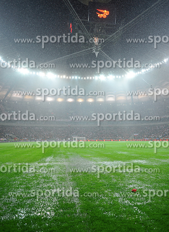 POLAND, WARSAW : Water covers the grass at the stadium as the FIFA 2014 World Cup qualifying football match Poland vs England was postponed until tomorrow due to heavy rains in Warsaw on October 16, 2012..Photo by : Piotr Hawalej