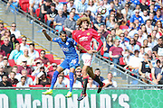Leicester City Midfielder Riyad Mahrez and Marouane Fellaini Midfielder of Manchester United battle in the air during the FA Community Shield match between Leicester City and Manchester United at Wembley Stadium, London, England on 7 August 2016. Photo by Phil Duncan.