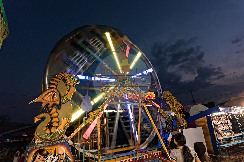 A traveling carnival ferris wheel during celebrations marking the Day of the Dead festival n the tiny Purepecha town of Ihuatzio, Michoacan, Mexico.