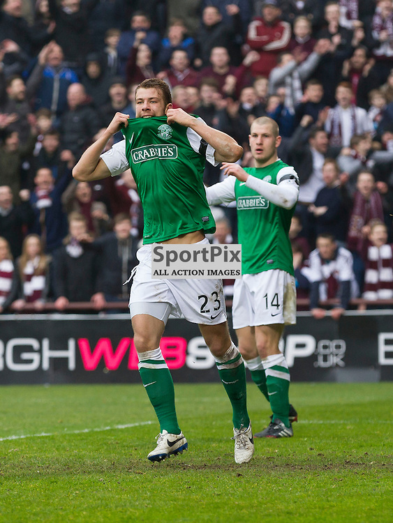 Hearts v Hibernian   SPFL season 2013-2014 <br /> <br /> Jordon Forster (Hibernian) header ruled off side during the Scottish Premiership Football League match between Hearts and Hibernian at Tynecastle Stadium on 30 March 2014<br /> <br /> Picture: Alan Rennie