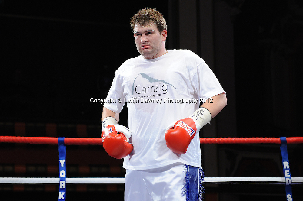 David Price defeats John McDermott (pictured) in 12x3 min contest to claim The British Heavyweight Title Eliminator at Olympia, Liverpool on the 21st January 2012. Referee Howard John Foster. Frank Maloney Promotions on Skysports HD1. © Leigh Dawney Photography 2012.