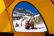 View from a yellow dome tent of a backcountry skier, John Muir Wilderness, Sierra Nevada Mountains, California USA