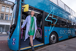 © Licensed to London News Pictures. 12/11/2018. Bristol, UK. LILIAN GREENWOOD MP chair of the House of Commons Transport Committee, getting off a hybrid electric bus laid on specially to take members of the House of Commons Transport Committee from Bristol Temple Meads train station to Bristol City Hall. Members of the House of Commons' Transport Committee visit Bristol to hear about bus services in the area. The Chair of the Transport Committee, Lilian Greenwood, is joined by committee members Grahame Morris and Daniel Zeichner, and will meet with Bristol City Council and First Group who run the large majority of Bristol buses, followed by Mayor of Bristol, Marvin Rees. In the first public evidence session the Committee has held outside Westminster, the Committee will then take evidence from the West of England Metro Mayor and representatives from Plymouth City Council and Devon County Council. MPs want to hear the views of local authorities about how the market works, what can be done to improve bus services and how they would like to see the future of bus services developing. The main issues surrounding the use of new powers given to local authorities by the Bus Services Act 2017 will also be under consideration. Buses account for five percent of all journeys in the UK. In Bristol buses are the most popular form of public transport, and the number of passenger journeys in Bristol has risen by more than 40% since 2009/10 compared to bus travel in English metropolitan areas outside London, which has declined by 40% over the last 25 years. Bristol City Council has recently concluded a consultation into their Transport Strategy up to 2036. Photo credit: Simon Chapman/LNP