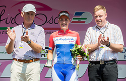 Joze Mermal of BTC and Second placed Lucinda Brand (NED) of Rabobank-Liv team during flower ceremony after the Stage 1 (102,5 km) from Kamnik to Ljubljana at 26th Giro Rosa 2015 Women cycling race, on July 4, 2015 in BTC City, Ljubljana,  Slovenia. Photo by Vid Ponikvar / Sportida