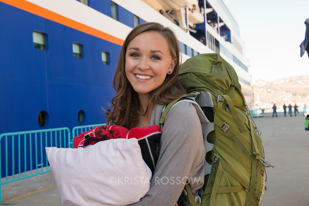 Student Alyssa Corbett from the University of Utah on Embarkation day for the Semester at Sea Spring 2014 Voyage, January 10th 2014, in Ensenada, Mexico.
