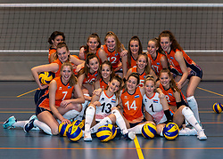 24-12-2019 NED: Photoshoot selection of Orange Youth Girls, Arnhem<br /> Orange Youth Girls 2019 - 2020 / Sanne Konijnenberg #2, Nog de Vos #3, Marije ten Brinke #6, Sanne Wagener #7, Silke Bos #8, Dagmar Mourits #9, Joanne Brilhuis #10, Emily Silderhuis #11, Tess Leemreize #12, Pippa Molenaar #13, Nicole van de Vosse #14, Marit Zander #15, Marlijn Stelwagen #16, Sabine de Groot #17