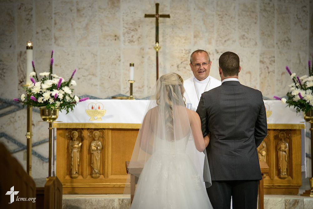 The Rev. Wally Arp, senior pastor of St. Luke's Lutheran Church, marries Toni and Craig Vining at the church on Saturday, March 5, 2016, in Oviedo, Fla. LCMS Communications/Erik M. Lunsford