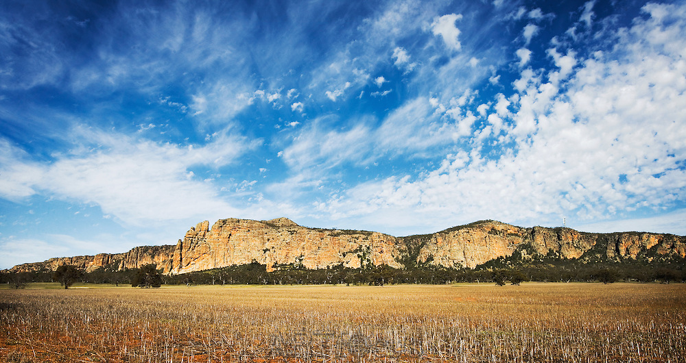 Mt Arapiles, a rock formation rising from the Wimmera Plains in Western Victoria, one of the premier rock climbing sites in Australia