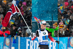 March 16, 2019 - €¦Stersund, Sweden - 190316 Johannes Thingnes BÂ¿ of Norway celebrates during the Men's 4x7,5 km Relay during the IBU World Championships Biathlon on March 16, 2019 in …stersund..Photo: Johan Axelsson / BILDBYRN / Cop 245 (Credit Image: © Johan Axelsson/Bildbyran via ZUMA Press)