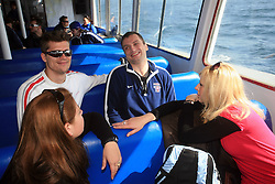 Marcel  Rodman, Miha Rebolj and Veronika Potocnik (blond) at whale watching boat when some guys  were celebrating an anniversary of playing for Slovenian National Team for 100 (120) times, during IIHF WC 2008 in Halifax,  on May 07, 2008, sea at Halifax, Nova Scotia,Canada.(Photo by Vid Ponikvar / Sportal Images)