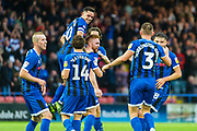 Rochdale captain Ian Henderson celebrates with his teammates after Callum Camps' goal during the EFL Sky Bet League 1 match between Rochdale and Sunderland at the Crown Oil Arena, Rochdale, England on 20 August 2019.