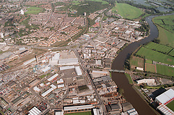 Aerial view of the river Trent in Nottingham,