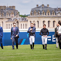 AP O'Brien, S. Heffernam, RL. Moore walking the track before Prix de Jockey Club in Chantilly, France, 04/06/2017 Photo: Zuzanna Lupa / Racingfotos.com