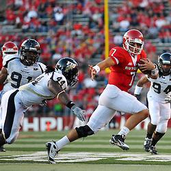 Sep 19, 2009; Piscataway, NJ, USA; Rutgers quarterback Tom Savage (7) scrambles during the first half of NCAA college football between Rutgers and Florida International at Rutgers Stadium.