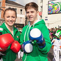 Joane Porter and SHane Tuite, from the Ennis Tae Kwon Do Club participating in the 2015 Ennis St Patrick's day Parade