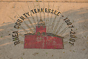 The sidewalk in front of the Rhea County Courthouse, the site of the Scopes Monkey Trial in Dayton, Tennessee.
