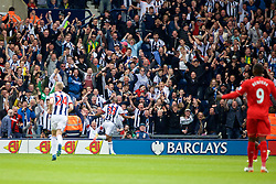WEST BROMWICH, ENGLAND - Sunday, May 15, 2016: West Bromwich Albion's Salomon Rondon celebrates scoring the first goal against Liverpool during the final Premier League match of the season at the Hawthorns. (Pic by David Rawcliffe/Propaganda)