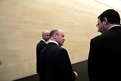 UK ENGLAND LONDON 21APR16 - Deutsche Bank CEO John Cryan talks with Handelsblatt journalist Daniel Schaefer (R) at the company's UK  headquarters in the City of London.<br /> <br /> <br /> <br /> jre/Photo by Jiri Rezac<br /> <br /> <br /> © Jiri Rezac 2016