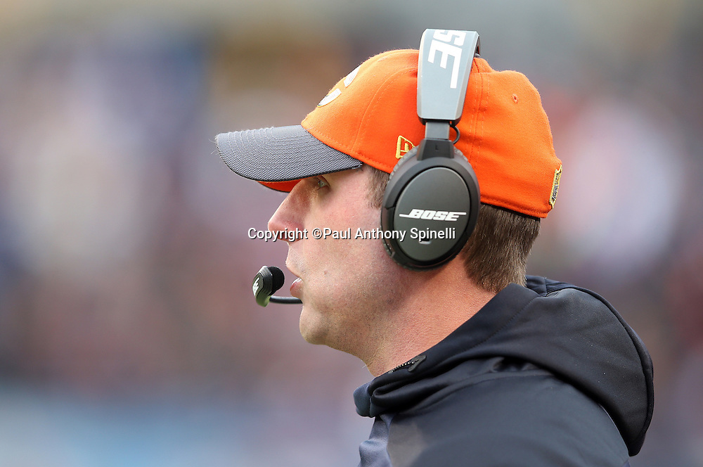 Chicago Bears offensive coordinator Adam Gase looks on from the sideline during the NFL week 17 regular season football game against the Detroit Lions on Sunday, Jan. 3, 2016 in Chicago. The Lions won the game 24-20. (©Paul Anthony Spinelli)