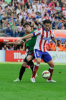 Atletico de Madrid´s Tiago Cardoso and Athletic Club´s Unai Lopez during 2014-15 La Liga match between Atletico de Madrid and Athletic Club at Vicente Calderon stadium in Madrid, Spain. May 02, 2015. (ALTERPHOTOS/Luis Fernandez)