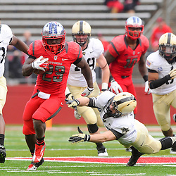 10 November 2012: Rutgers Scarlet Knights running back Jawan Jamison (23) avoids a diving tackle attempted by Army Black Knights linebacker Alex Meier (23) during NCAA college football action between the Rutgers Scarlet Knights and Army Black Knights at High Point Solutions Stadium in Piscataway, N.J..