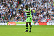 Forest Green Rovers Dale Bennett(6) calms things down during the Vanarama National League Play Off Final match between Tranmere Rovers and Forest Green Rovers at Wembley Stadium, London, England on 14 May 2017. Photo by Shane Healey.