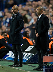 18.04.2012, Arena Stozice, Ljubljana, SLO, IIHF, Division I A WM, Slowenien vs Ungarn, im Bild Chelsea's interim manager Roberto Di Matteo, right, and Barcelona's Josep Guardiola look on during the UEFA Championsleague Halffinal 1st Leg Match, between FC Chelsea (ENG) and FC Barcelona (ESP), at the Stamford Bridge, London, Great Britain on 2012/04/18. EXPA Pictures © 2012, PhotoCredit: EXPA/ Propagandaphoto/ Tim Hales    ATTENTION - OUT OF ENG, GBR, UK *****