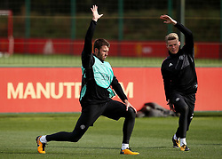 Michael Carrick and Scott McTominay of Manchester United warm up - Mandatory by-line: Matt McNulty/JMP - 11/09/2017 - FOOTBALL - AON Training Complex - Manchester, England - Manchester United v FC Basel - Press Conference & Training - UEFA Champions League - Group A