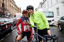 Coryn Rivera (USA) poses for a selfie at Stage 4 of 2019 OVO Women's Tour, a 158.9 km road race from Warwick to Burton Dassett, United Kingdom on June 13, 2019. Photo by Sean Robinson/velofocus.com