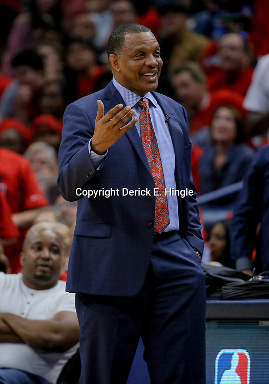 Apr 19, 2018; New Orleans, LA, USA; New Orleans Pelicans head coach Alvin Gentry against the Portland Trail Blazers during the second half in game three of the first round of the 2018 NBA Playoffs at the Smoothie King Center. The Pelicans defeated the Trail Blazers 119-102.  Mandatory Credit: Derick E. Hingle-USA TODAY Sports