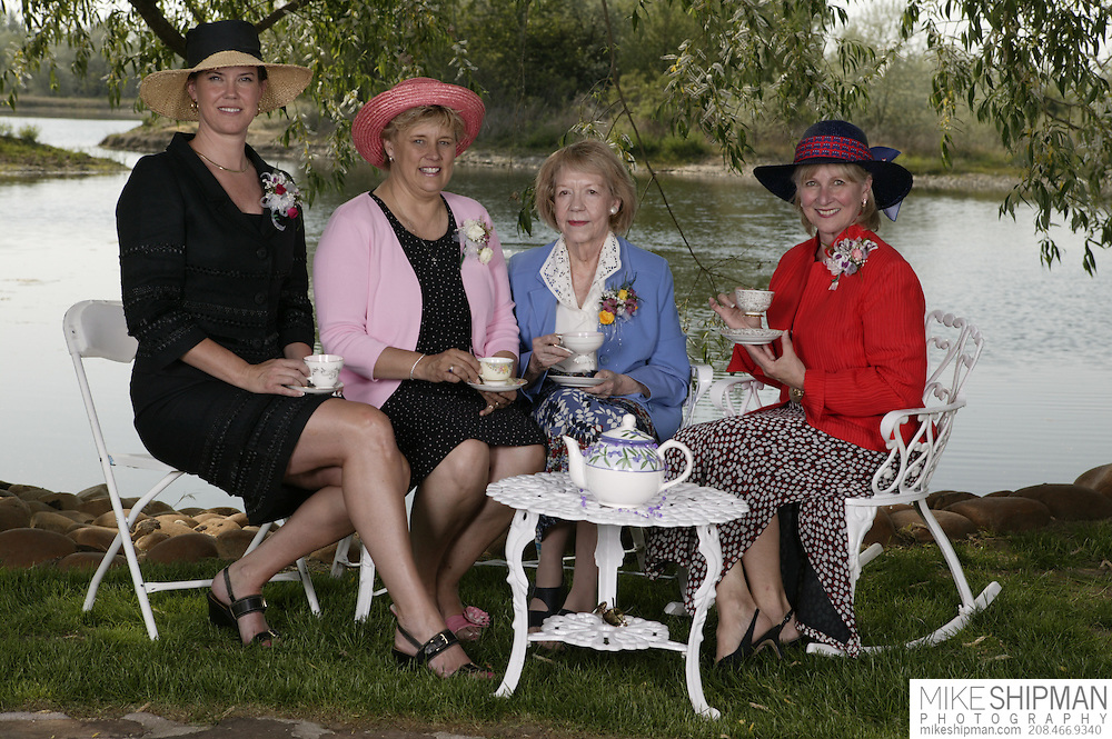 Four Idaho Governor's wives sit for tea during the Ada County Republican Women's Club Tea, Governor Butch Otter Ranch; L - R: Lori Otter (Easley), Patricia Kempthorne, Jacque Batt, Vicki Risch